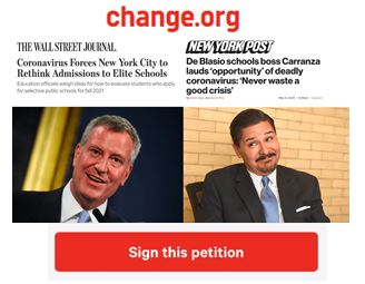 """Over 2,000 Rushed to Sign Petition to """"Stop Carranza from Using the COVID Crisis to Overhaul School Admission Policies"""""""