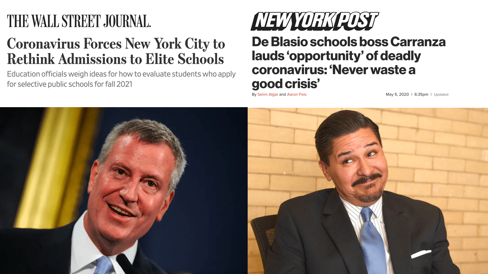 STOP CARRANZA FROM USING THE COVID CRISIS TO OVERHAUL SCHOOL ADMISSIONS POLICIES