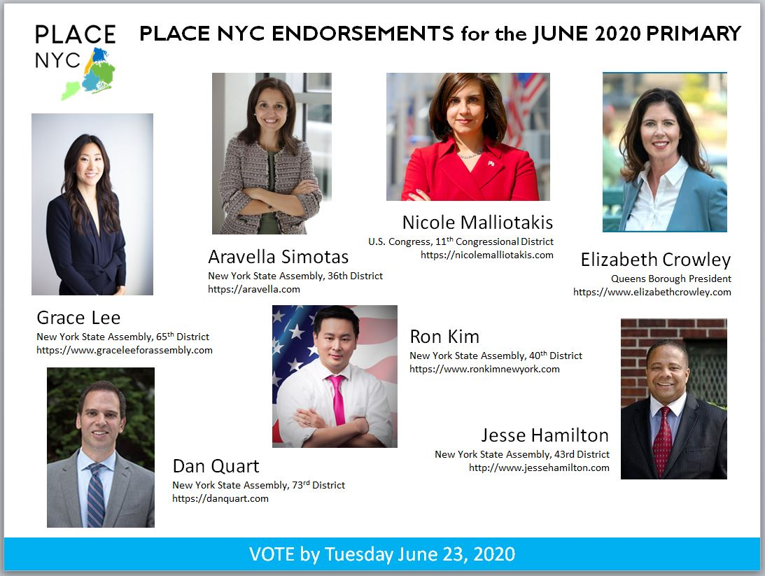 PLACE NYC ANNOUNCES ENDORSEMENTS FOR JUNE 2020 PRIMARY CANDIDATES