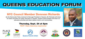 Queens Education Forum: September 24